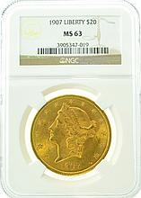 *1907 $20 MS 63 NGC Liberty Gold Coin (DF)