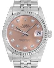 *Rolex Oyster Perpetual Datejust Peach Dial Watch