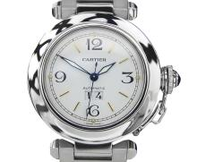 *Pasha De Cartier Automatic Water Resistant Stainless Steel Large Round Panthere 1 Line Watch
