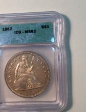 *1862 Seated Dollar ICG MS62 Coin (JG)