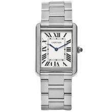 *Cartier Men's Tank Solo Stainless Steel Case, Stainless Steel Bracelet, Silver Dial, Quartz Movement, Synthetic Sapphire, Water Resistant up to 3 ATM - 30 Meters - 99 Feet (DM W5200014)