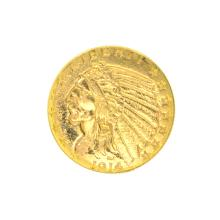 *1914 $5 U.S. Indian Head Gold Coin (DF)