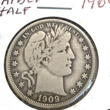 *1909 Barber Half Dollar Coin (JG)