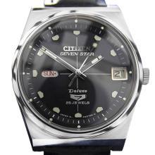 *Citizen Seven Star Black Leather Watch