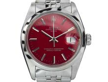 *Mens Vintage Swiss Oyster Perpetual Date 1500, Red Dial, Rare Bracelet