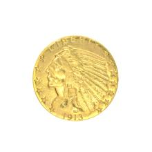 *1913 $5 U.S. Indian Head Gold Coin (DF)