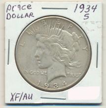 *1934-S Peace Dollar XF / AU Coin (JG)