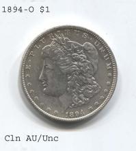 *1894-O Morgan $1 Cleaned AU/Unc Coin (JG 1894O$cj1816)