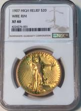 *1907 High Relief $20 Gold Wire Rim NGC XF40 Coin (JG)