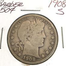 *1908-S Barber 50c Coin (JG)