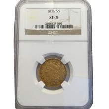 *1836 $5 Classic Liberty NGC XF45 Coin (JG)