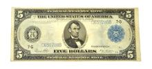 1913 $5 Federal Reserve Large Size Blue Seal Note