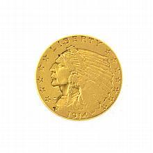 *1914-D $2.5 U.S Indian Head Gold Coin (DF)
