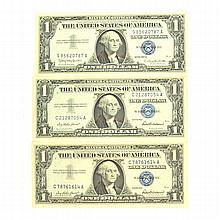 3 1957 $1 U.S Silver Certificate