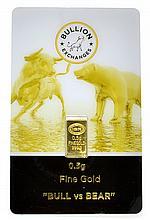 0.5 gram Fine Gold ''Bull Vs. Bear'' Bar