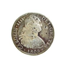 1805 Extremely Rare Eight Reales American First Silver Dollar Coin