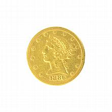 *1886-S $5 U.S. Liberty Head Gold Coin