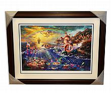 Rare Thomas Kinkade Original Limited Edition Numbered Lithograph Plate Signed Museum Framed ''Little Mermaid''
