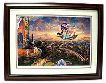 Rare Thomas Kinkade Original Limited Edition Numbered Lithograph Plate Signed Museum Framed ''Aladdin''