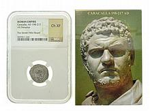 Extremely Rare Museum Roman Empire Caracalla, AD 198-217 CH XF NGC Coin