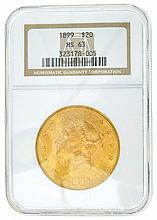 *1899 $20 U.S. MS 63 Liberty Gold Coin