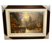 Rare Thomas Kinkade Original Limited Edition Numbered Lithograph Plate Signed Museum Framed '' New York Fifth Ave''