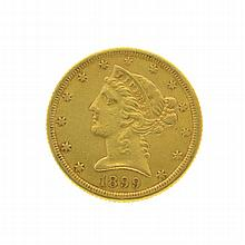 1899-S $5 U.S. Liberty Head Gold Coin