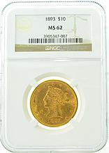 *1893 $10 MS 62 NGC Liberty Gold Coin (DF)