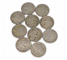(10) Buffalo Five Cents Coins