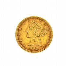 1881 $5 U.S. Liberty Head Gold Coin