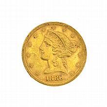 1880 $5 U.S. Liberty Head Gold Coin