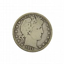 1911 Barber Head Half Dollar Coin