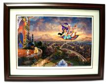 Rare Thomas Kinkade Original Limited Edition Numbered Lithograph Plate Signed Museum Framed ''Aladdin''