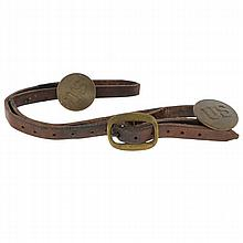 Cilvil War Era U.S. Horse Bridle Rossettes Brass Buckle & Headstall