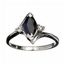 APP: 1.7k Designer Sebastian 1.45CT Blue Sapphire And Topaz  Platinum Over Sterling Silver Ring