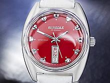 *Rare French Aureole Day Date Automatic Red Dial Dress Watch (DN153)