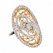 APP: 6k *18 kt. White and Yellow Gold, 0.97CT Diamond Ring