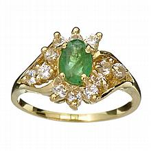 APP: 1.3k 14 kt. Gold, 0.41CT Oval Cut Emerald  And White Sapphire Ring