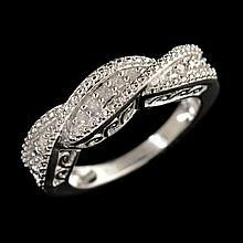 APP: 1.1k 0.20CT Round Cut Diamond 14kt. Over Sterling Silver Ring