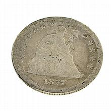 1877 Liberty Seated Quarter Coin
