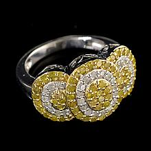 APP: 4.5k 1.00CT Round Cut Diamond 14kt. White and Yellow Over Sterling Silver Ring