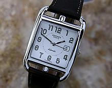 *Mens Hermes Double Tour 2000's Sapphire Crystal Automatic Movement & SS Watch (411)