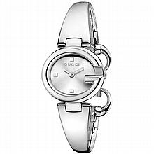 *Gucci Women's Guccissima Stainless Steel Case, Stainless Steel Bracelet, Silver Dial, Quartz Movement, Scratch Resistant Sapphire, Water Resistant up to 5 ATM - 50 meters - 165 feet