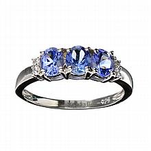 APP: 1.6k 1.25CT Tanzanite And Colorless Quartz Platinum Over Sterling Silver Ring