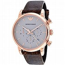 *Armani Men's Classic Stainless Steel Case, Leather Strap,Warm Gray Dial, Quartz Movement, Scratch Resistant Mineral, Water Resistant up to 5 ATM - 50 meters - 165 feet