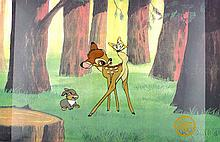 Walt Disney (After)  Serigraph, Cell, Bambi at Forest, W/Certificate Of Authenticity