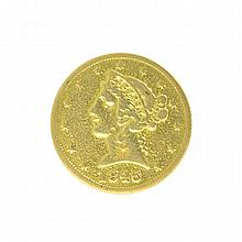 *1846 $5 U.S. Liberty Head Gold Coin