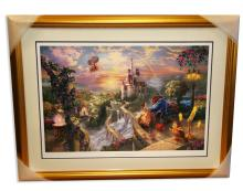 Rare Thomas Kinkade Original Limited Edition Numbered Lithograph Plate Signed Museum Framed ''Beauty & the Beast''