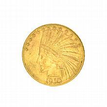*1910-D $10 U.S. Indian Head Gold Coin (DF)