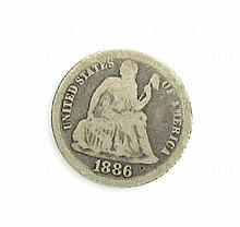 1886  One Dime Liberty Seated Type Coin